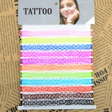 12 Pcs/Lot Trendy Stretch Tattoo Choker Necklace Gothic Elastic Femme Rainbow Necklaces For Women Girls Bijoux Wholesale