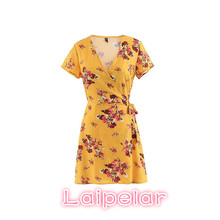 2018 Boho summer dress women mini wrap print dress sexy v neck short sleeve chiffon beach party dress korean fashion streetwerar цена и фото