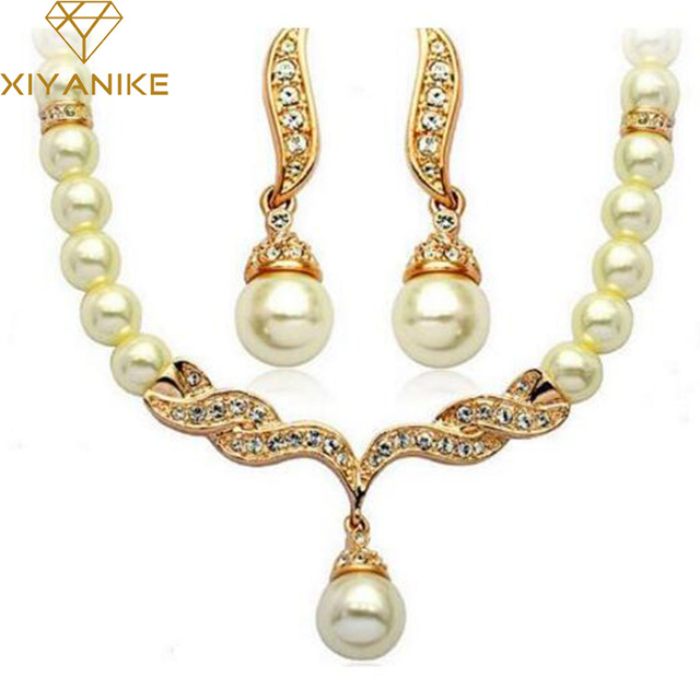 Charming Bride Simulated Pearl Jewelry Set Crystal Pendant Necklaces Earring Set