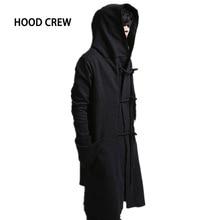 2017 HoodCrew Brand Mens Fashion Hoodies and Sweatshirts Homme High Streetwear Male Hemp Rope Design Black Overcot Men KF-1464