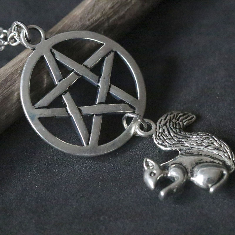 New Supernatural Winchesters Necklaces Vintage Pentagram Squirrel Pendant Necklace Retro Silver Necklace Choker Collier Women in Pendant Necklaces from Jewelry Accessories