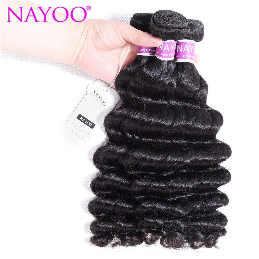 Nayoo натуральный Цвет свободные Deep монгольский пучки волос плетение Волосы Remy машина двойной уток 8-26 дюймов можно купить 3 пучки ...