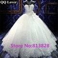 QQ Amante Por Encargo Sexy Tube Top Royal Lace up vestido de Bola Vestido de novia 2017 Luxucy Vestido De Novia vestido de Novia Vestido De Noiva