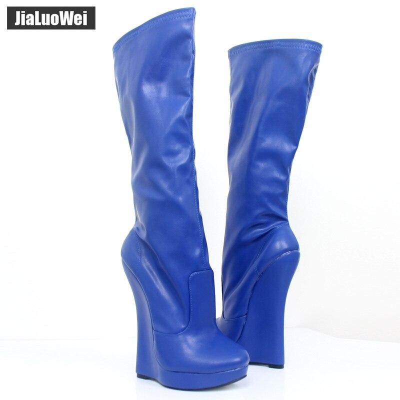 Jialuowei 18 cm tacón alto extremo cuña tacón 3 cm plataforma puntiaguda mujeres cuero PU cremallera lateral Sexy fetiche botas hasta la rodilla-in Botas por la rodilla from zapatos    3