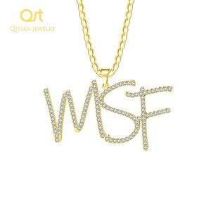 Image 2 - Personalizado iced para fora cursive nome colar letras iniciais zircônia placa de identificação colar hippop cubana chain jewelry para homens