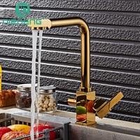 Nieneng Brass Swivel Drinking Water Faucet 3 Way Water Filter Purifier Golden Kitchen Faucets For Sinks