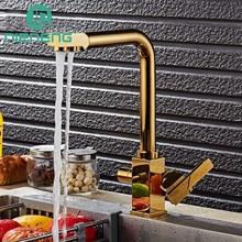 Nieneng Латунь Поворотный кран питьевой воды 3 Way фильтр для воды очиститель золотые кухня смесители для мойки, краны инструменты ICD60414