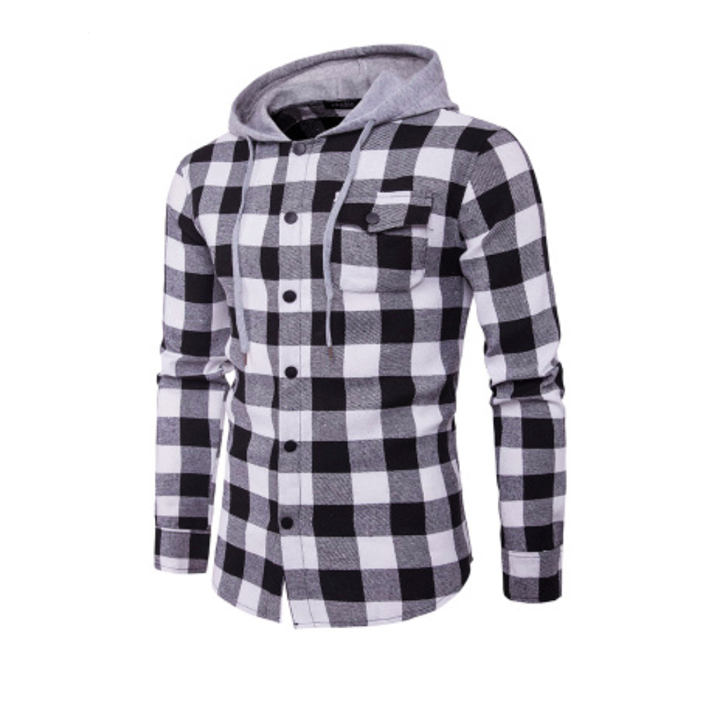 Man Tops Plaid Shirts Male Wear Slim Full Sleeve Man Casual Shirts Street Mens Pocket Wearing Smart Casual Shirts Hoodie Tops