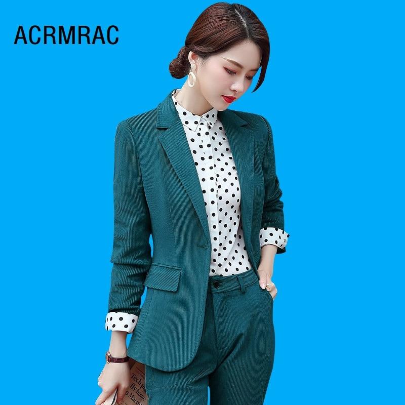 Women suits Slim spring Corduroy jacket Pants 2-piece set OL Formal Business pants Woman 371