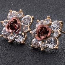 Кристалл серьги-гвоздики букле d'oreille Femme модные цветочные серьги для женщин золотые Серьги-гвоздики Pendientes Mujer