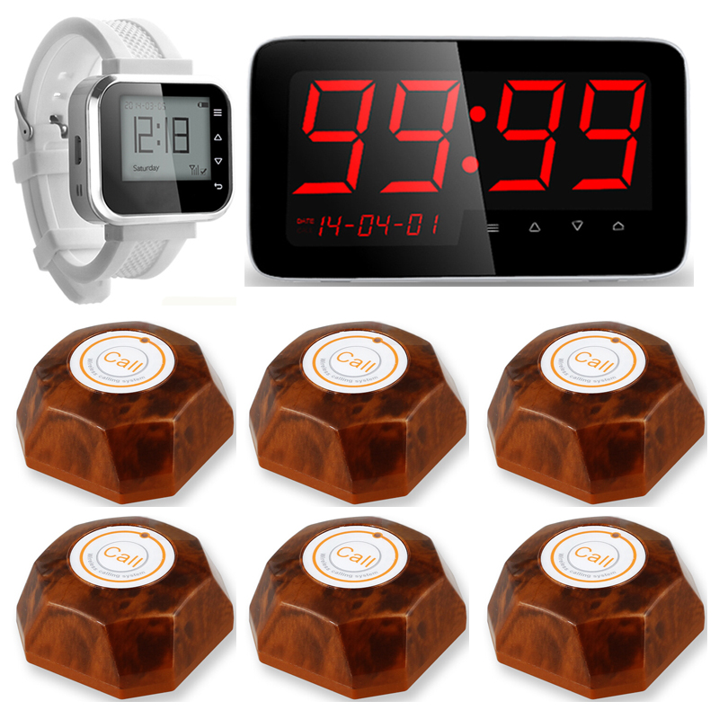 Restaurant Waiter Service Calling System Watch Pager Service System+C1 Waiter Calling Paging System + 6pcs Call Transmitter wrist watch wireless call calling system waiter service paging system call table button single key for restaurant p 200c o1
