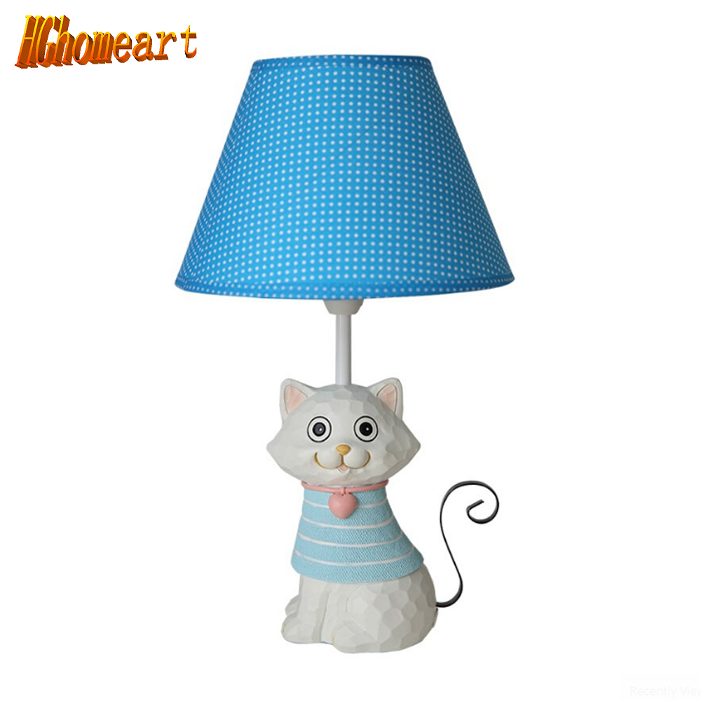 Hghomeart Children Room Cat Table Lamp E14 110V-220V Switch Button Decoration Led Desk Lamp Light Study Lamps Desk Lamps Study hghomeart children room captain bear modern table lamp kids wooden desk lamp e14 reading led lamp switch button study lamps