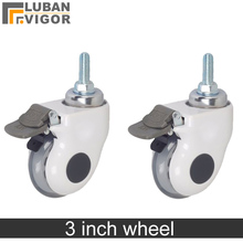 3 polegada, rodízios Médicos/rodas Com freio, roda Tampa Transparente mudo equipamentos médicos, parafuso M12x30, para equipamentos Hospitalares