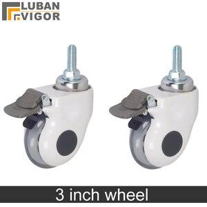Image 1 - 3 дюйма, Медицинские Ролики/колеса с тормозом, прозрачное беззвучное колесо для медицинского оборудования, винт M12x30, для больничного оборудования