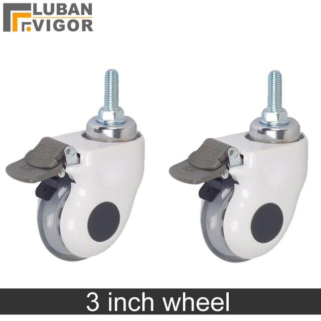 3 дюйма, Медицинские Ролики/колеса с тормозом, прозрачное беззвучное колесо для медицинского оборудования, винт M12x30, для больничного оборудования