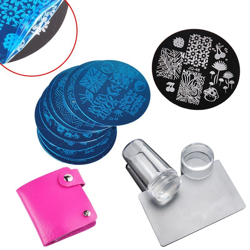 10Pcs Nail Plates + Clear Jelly Silicone Nail Art Stamper Scraper Nail Art Stamping Template Image Plates Nail Stamp Plate Set