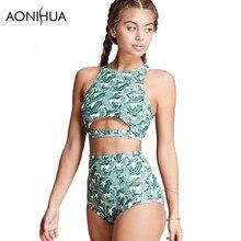 AONIHUA 2018 High waist Vintage green Bikini set Women Summer Beach neck Swimwear female Design Hollo Push Up Swimsuit 2154