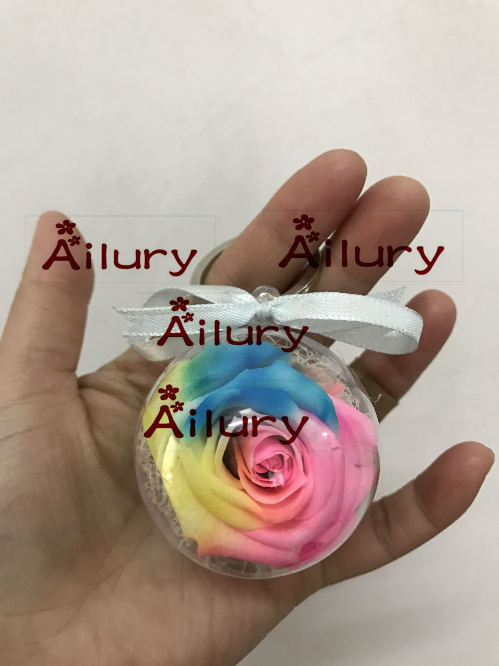Free shipping 5cm Key chain Preserved rose eternal flower ball colorful roses Valentine s Day font
