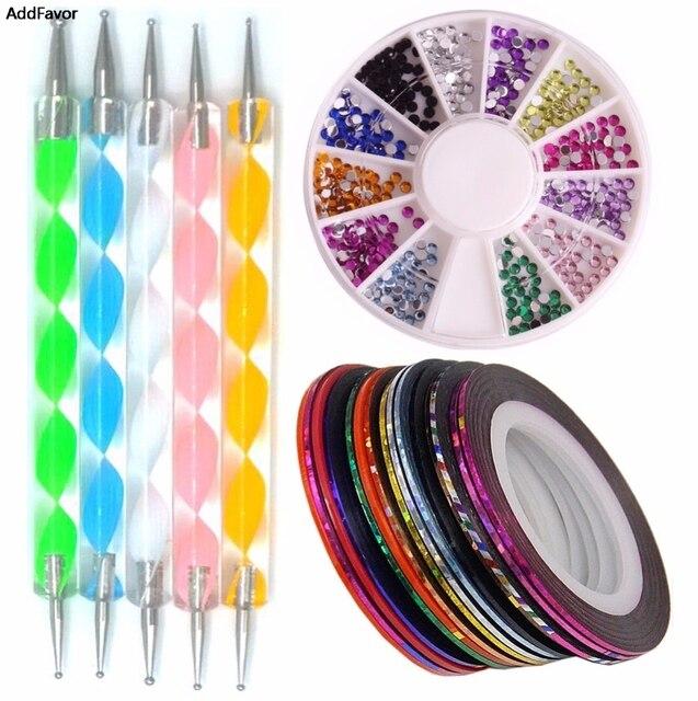 AddFavor 10 piezas de diamantes de imitación rollos de pluma que puntea belleza manicura Kit de 3D brillo decoración de cristal equipo de arte de uñas Juego de Herramientas
