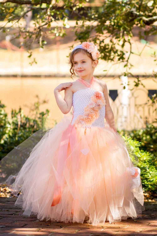 9f7a095f31ba Peach Flower Girl Tutu Dress White Spring Summer Wedding Photo ...