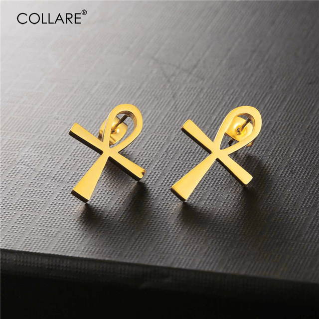 Collare Ankh Earrings For Women Egyptian Cross Gold Color Stainless Steel Key Of The Nile