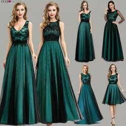 Элегантное темно-зеленое вечернее платье длинное красивое платье трапециевидной формы EZ07965 контрастного цвета с вышивкой кружевное