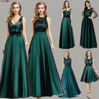 Elegant Dark Green Evening Dresses Long Ever Pretty EZ07965 A Line Contrast Color Embroidery Lace Formal Dresses Robe De Soiree