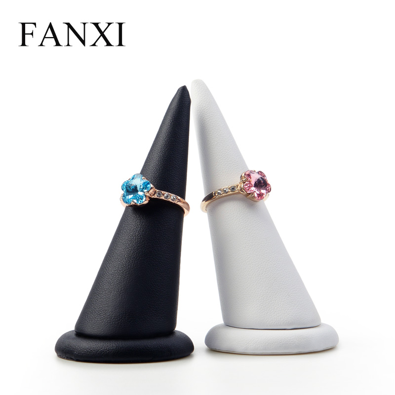 FANXI  2 Pieces /lot PU Leather White&Black Ring Display Holder Finger Shape For Ring Organizer Stand Jewelry Exhibition Storage