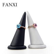 FANXI  2 Pieces /lot PU leather White&Black Ring Display Holder Finger shape for Organizer Stand Jewelry Exhibition Storage