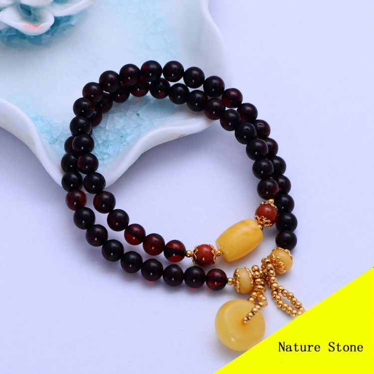 Fashion Nature Blood Amber Bracelet Yellow Beeswax Charm Women Gift Jewelry Dual String Long Bracelet MYG005 new orleans saints garden gnome 11 thematic