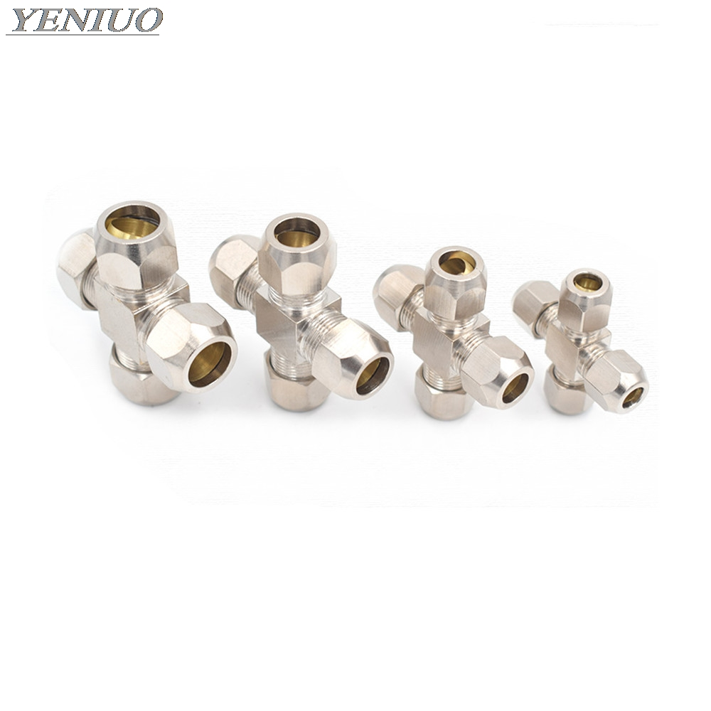 4 6 8 10 12mm Pipe OD 4way Brass Oil Compression Tube Pipe Fittings Connector