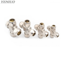4 6 8 10 12mm Pipe OD 4way Brass oil Compression Tube Fittings Connector