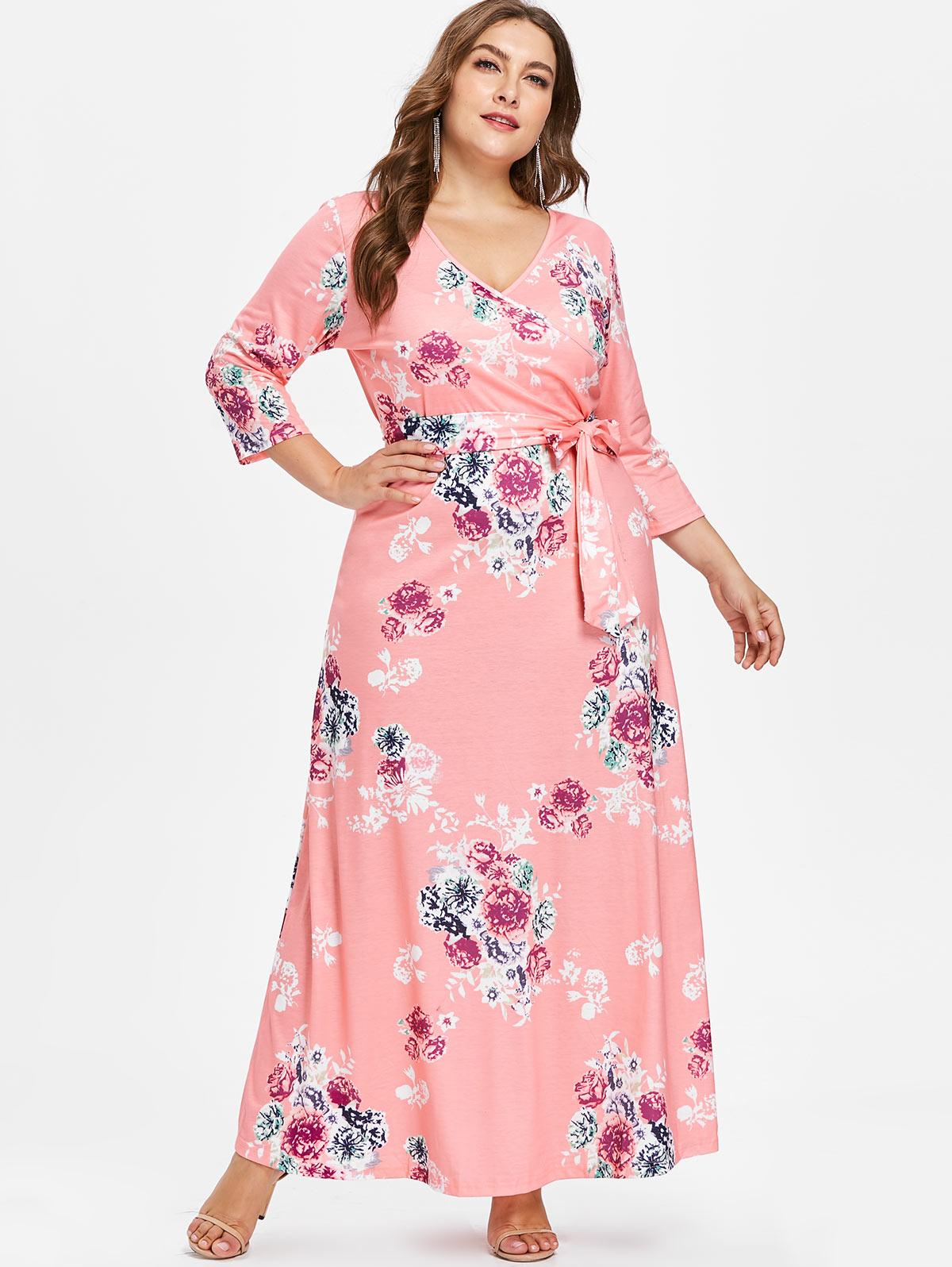 Wipalo 2019 Autumn Casual Women Plus Size Floral Print Floor Length Dress V Neck Maxi Dress With Belt A-Line Female Vestidos