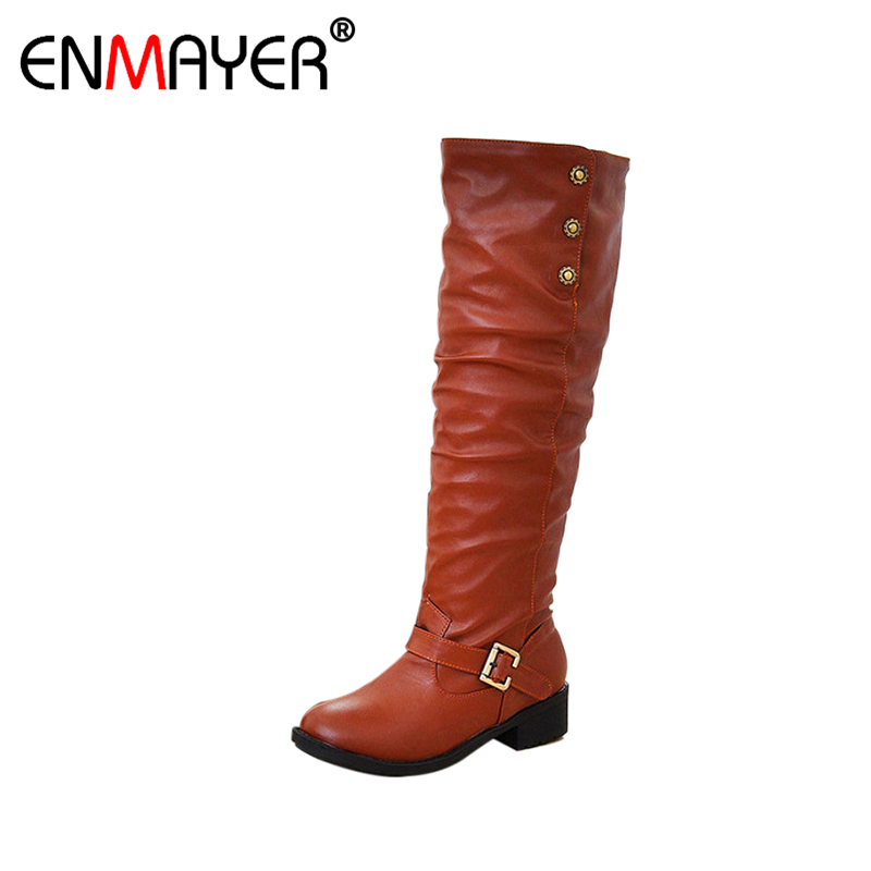 ФОТО ENMAYER Fashion Winter Mid Knee High Boots Ladies Botas Women Motorcycle Boots Brown Black Yellowflats Heels Autumn Shoes Woman