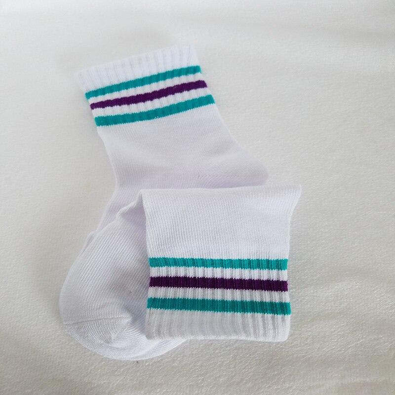 LAMUSUNG 2pcs=1 Pairs children socks for girls mesh fabric stripes socks cotton rainbow style stripes crew short sock