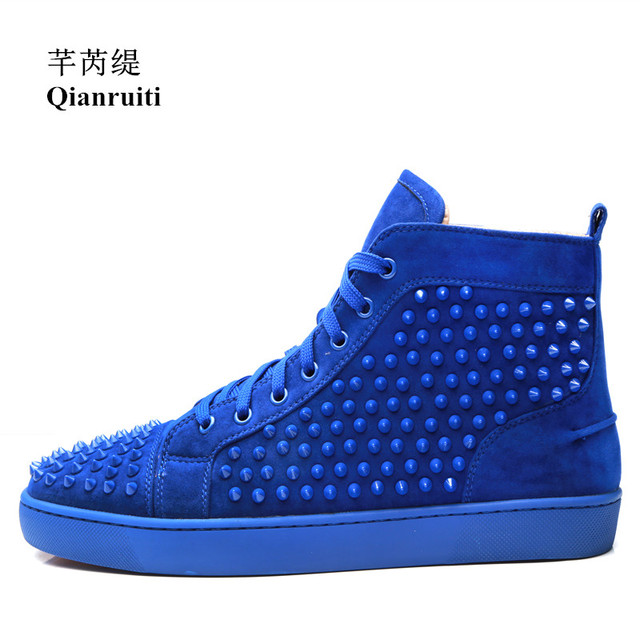 Qianruiti Runway Cow Suede Men Rivet Sneaker Spike Casual Shoes Ankle Lace-up  Flat High Top Men Camping Shoes Customized Color 293210e8a751
