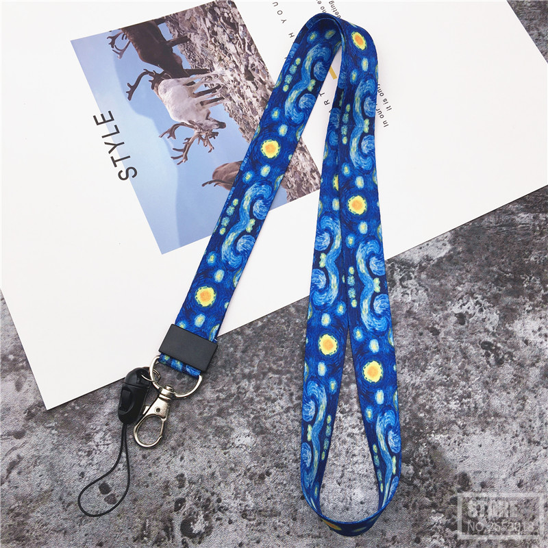 Van Gogh Starry Night Premium Lanyard Neck Strap For Keys ID Card Gym Mobile Phone Straps USB Badge Holder DIY Hang Rope Lariat