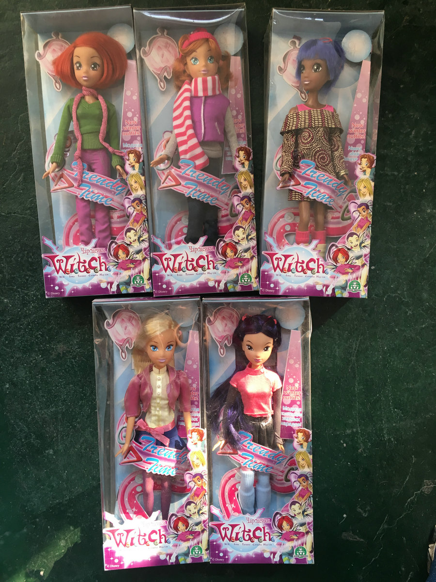 RARE 5pcs Set of W.I.T.C.H. Trendy Time 32cm Doll Collection Girl Gift rare w i t c h 6 inches doll with pvc bag collection girl gift