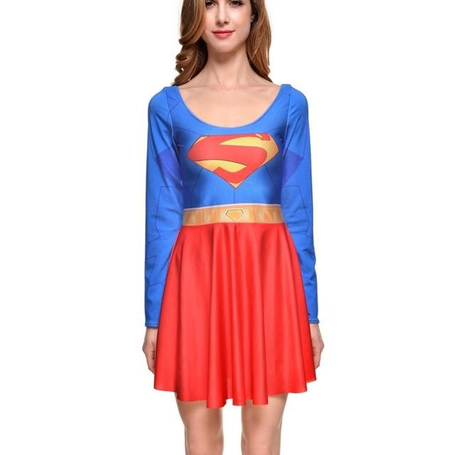 7aabe7b2ebd37 NEW 1229 Sexy Girl Women Summer Comic Superman Superhero batman 3D Prints  Reversible long sleeve Skater Pleated Dress Plus size