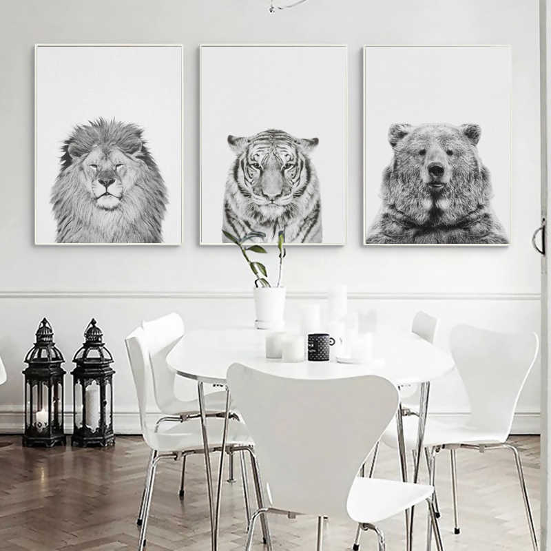 Home Decor Canvas Painting Nordic Style Black And White Wild Animal Lion Tiger Bear Pictures Prints Wall Art Modular Poster