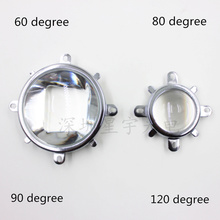 Refletor de vidro óptico 60, 90, 120 graus, led, lente óptica, 44mm, suporte fixo refletor para 20w, 30w e 50w 100w cob chip de cob de alta potência