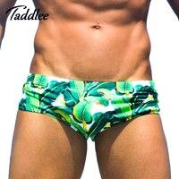 Taddlee Swimwwear Marki Sexy Mężczyzn Stroje Kąpielowe Krótkie Bikini Niski Stan Gay Surf Board Szorty męskie Bokserki Kufry Swim Wear Europa rozmiar