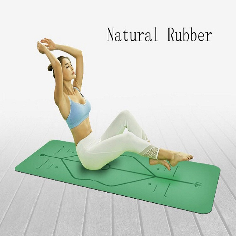 New Yoga Position Line Natural Rubber Comfortable Yoga Mat Non-Slip Exercise Mat Fitness Yoga Mat Beginners Yoga Mat