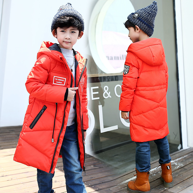 Brand Quality Fashion Teenagers Thick Winter Long Jackets Hooded Coats White Duck Jacket For Big Boy Children 39 s Down amp Parkas in Down amp Parkas from Mother amp Kids