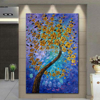 Modern Hand Painted palette knife 3D texture Flower and Tree on Canvas Oil Painting Wall Pictures For Living Room decorative 7