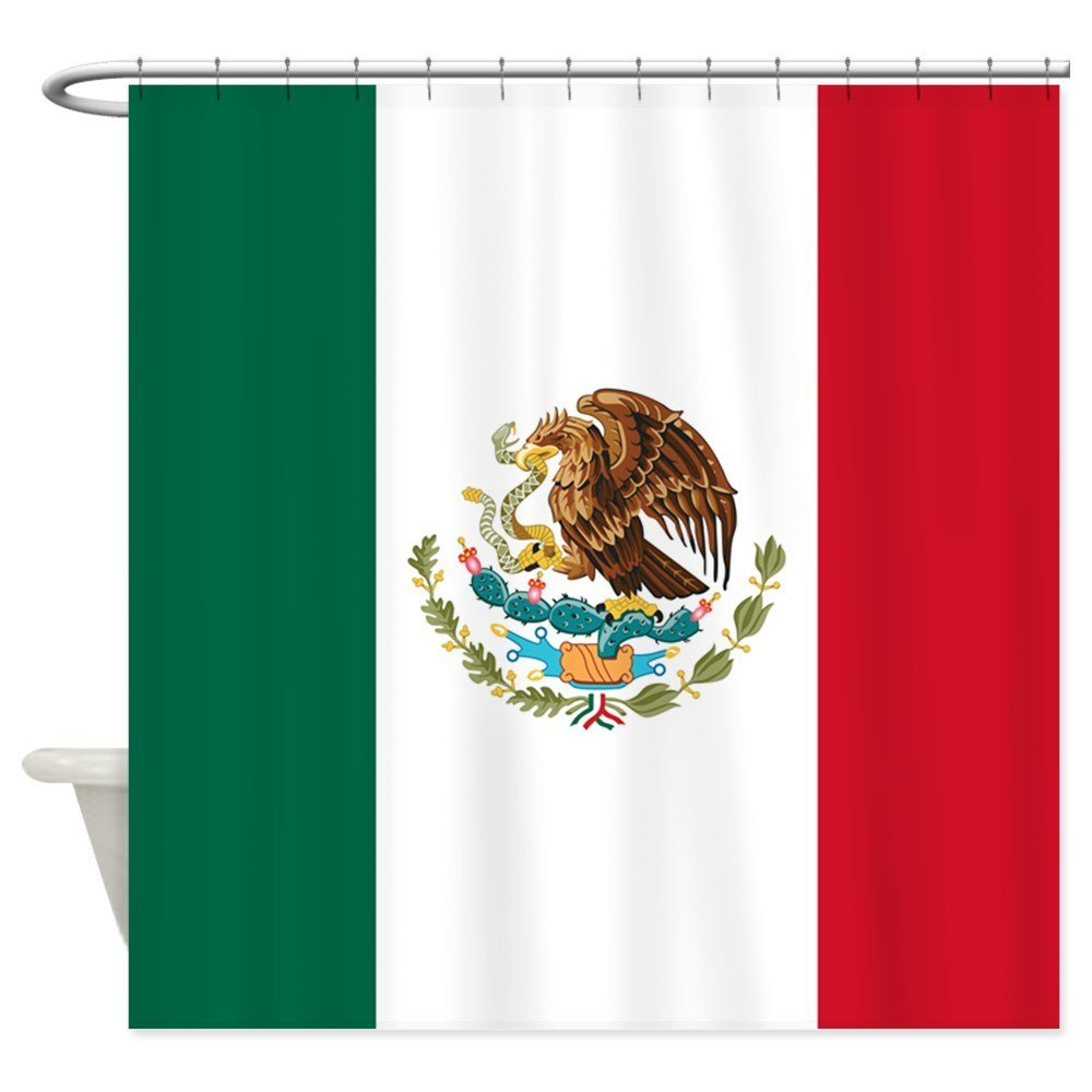 Warm Tour Mexican Flag Shower Curtain Fabric Polyester Waterproof Bathroom Curtains