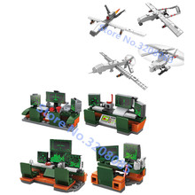 KAZI 728pcs 4sets/Lot Military Global Hawk airplane Predator aircraft UAV building block Brick Toy