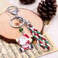 Lovely Iron Key Chain For Christmas Gift Pendant Brand leather Alloy Keychain Christmas Enamel Charm Keyring Unisex Chave
