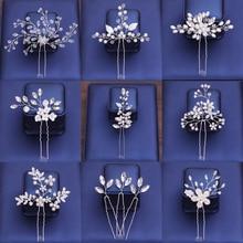 Pearl Rhinestone Hair Pins For Women Bridal Accessories Flower Pin Stick Wedding Hairpins Head Piece