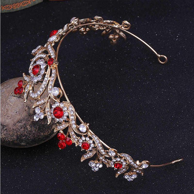 FORSEVEN femmes Vintage rouge or Baroque diadèmes couronne vert pour mariée mariage cristal fleur coiffe mariée cheveux bijoux